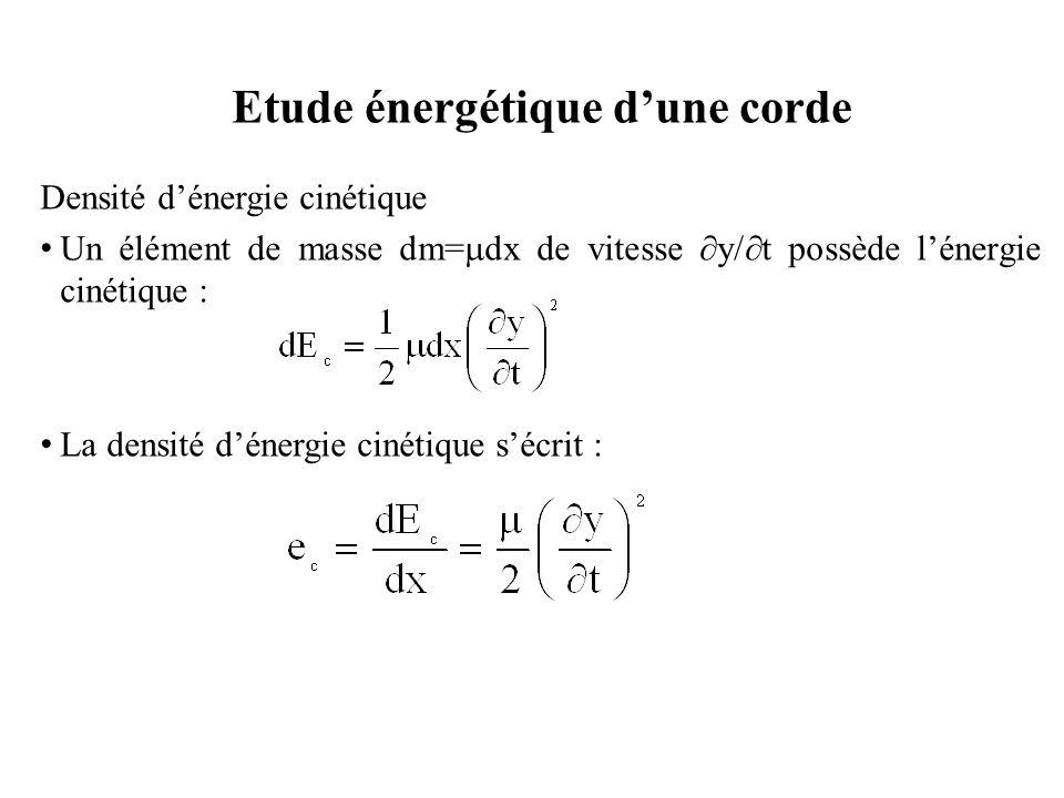 Densité d'énergie potentielle Pendant le mouvement, la longueur de la corde serait L, supérieure à sa longueur au repos ℓ.