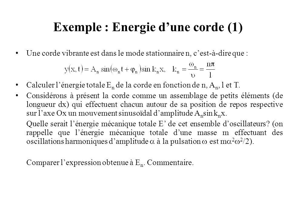 Exemple : Énergie d'une corde (2) Énergie de la corde en fonction de n, A n, l et T.