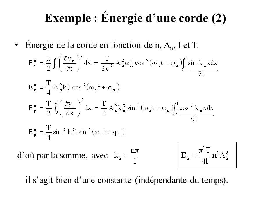 Exemple : Énergie d'une corde (3) L'élément de masse µdx effectuant des oscillations harmoniques d'amplitude A n sin k n x à la pulsation  n possède l'énergie mécanique totale : Avec l'analogie est tout à fait valable.