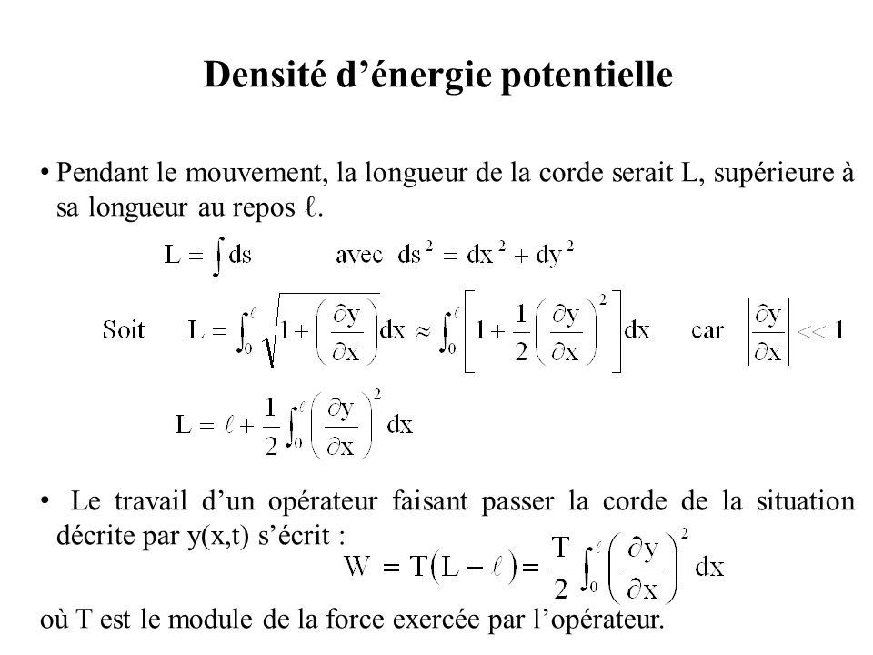 Densité d'énergie (2) Ce travail s'identifie à la variation d'énergie potentielle de la corde La densité d'énergie potentielle e p s'écrit donc : La densité d'énergie de la corde s'écrit alors :
