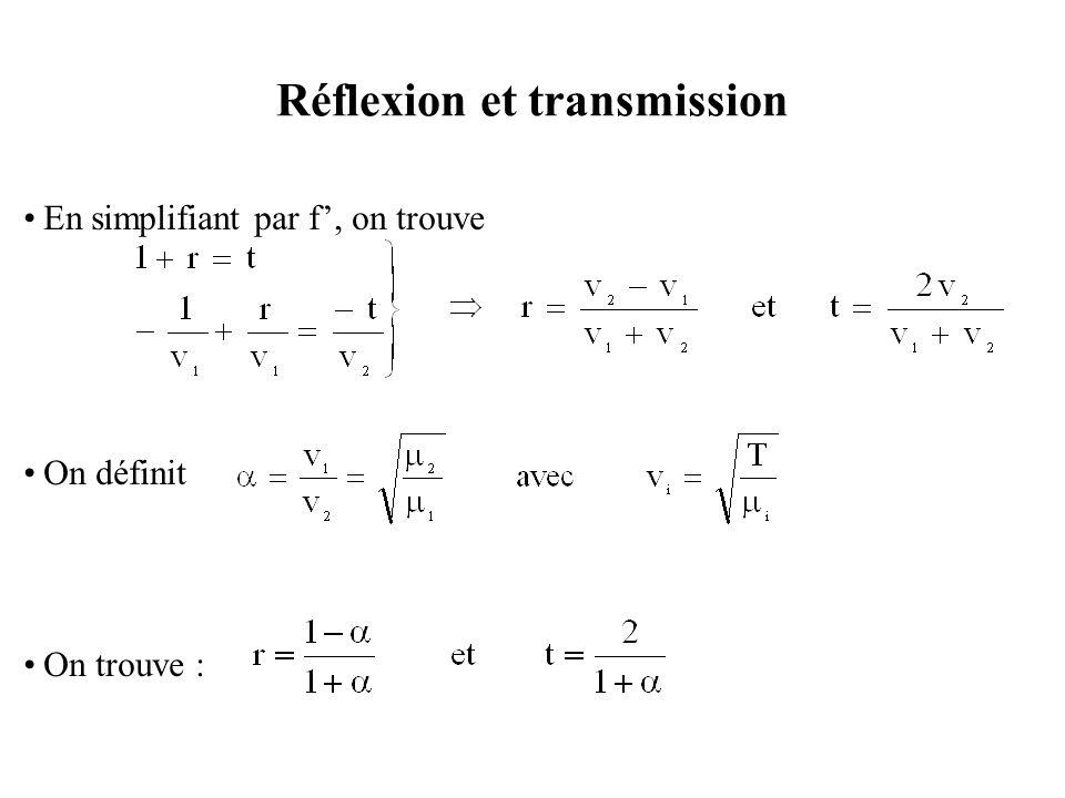 Réflexion et transmission Les limites de r et t sont : Cas  →0 : qui est le cas de la réflexion sur une corde très simple (  2 <<  1 ), à la limite  2 =0, on peut considérer l'extrémité de la première corde comme libre, on a r=1 et t=2, il y'a réflexion totale sans changement de signe.