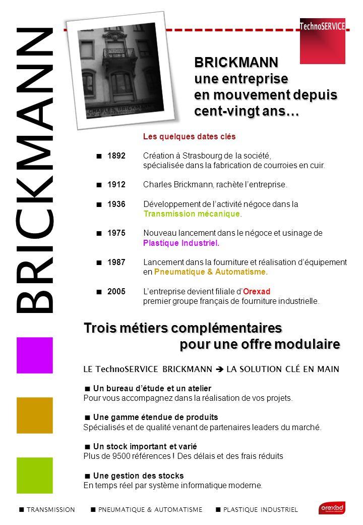 Les quelques dates clés  1892 Création à Strasbourg de la société, spécialisée dans la fabrication de courroies en cuir.  1912Charles Brickmann, rac