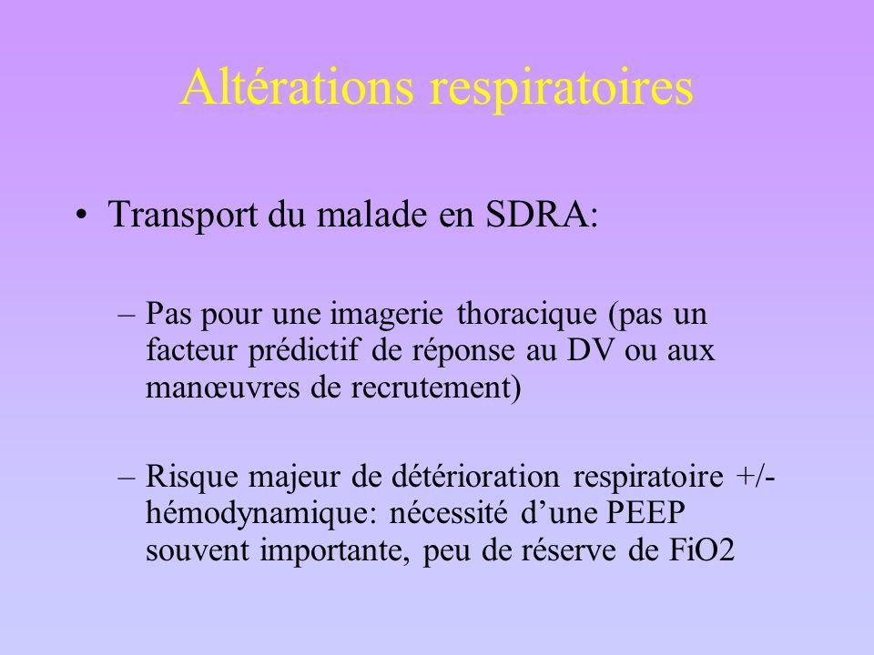 Altérations respiratoires Transport du malade en SDRA: –Pas pour une imagerie thoracique (pas un facteur prédictif de réponse au DV ou aux manœuvres de recrutement) –Risque majeur de détérioration respiratoire +/- hémodynamique: nécessité d'une PEEP souvent importante, peu de réserve de FiO2