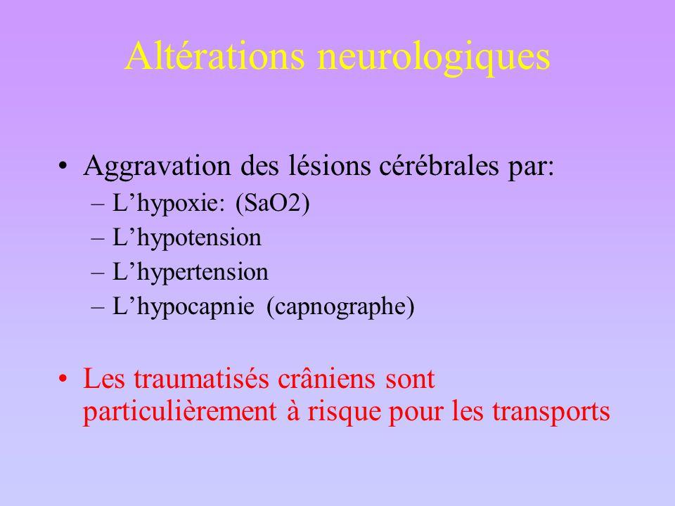 Altérations neurologiques Aggravation des lésions cérébrales par: –L'hypoxie: (SaO2) –L'hypotension –L'hypertension –L'hypocapnie (capnographe) Les traumatisés crâniens sont particulièrement à risque pour les transports