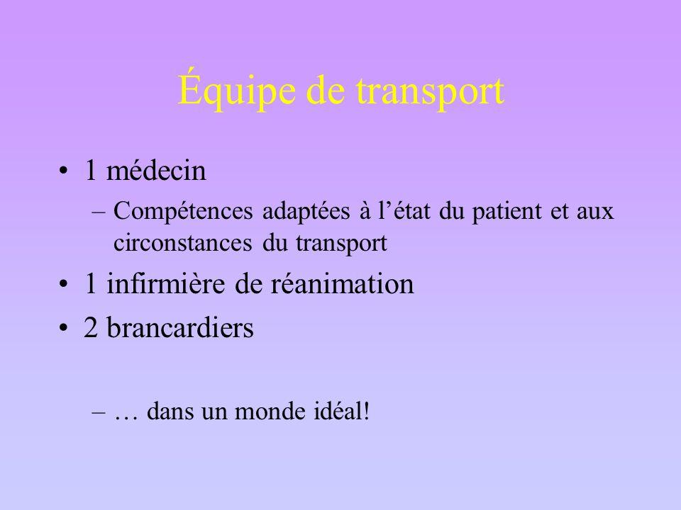 Équipe de transport 1 médecin –Compétences adaptées à l'état du patient et aux circonstances du transport 1 infirmière de réanimation 2 brancardiers –… dans un monde idéal!