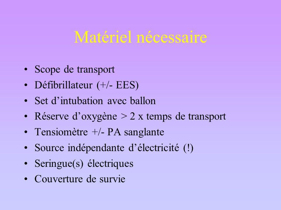 Matériel nécessaire Scope de transport Défibrillateur (+/- EES) Set d'intubation avec ballon Réserve d'oxygène > 2 x temps de transport Tensiomètre +/- PA sanglante Source indépendante d'électricité (!) Seringue(s) électriques Couverture de survie