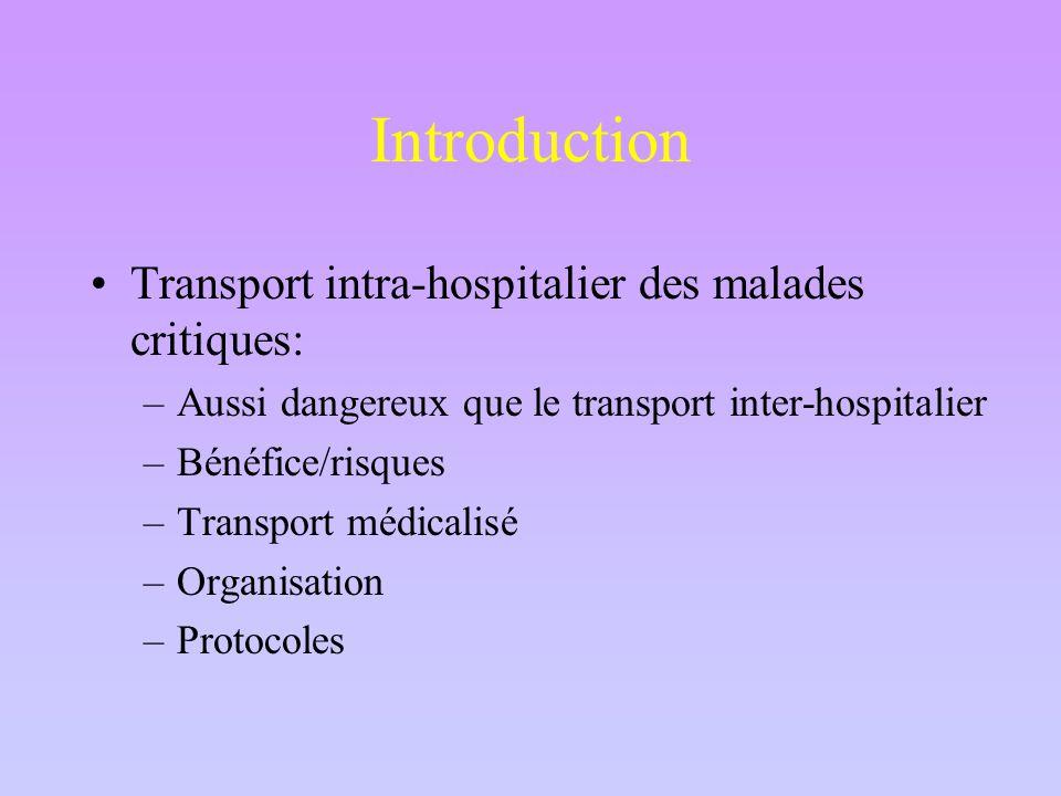 Introduction Transport intra-hospitalier des malades critiques: –Aussi dangereux que le transport inter-hospitalier –Bénéfice/risques –Transport médicalisé –Organisation –Protocoles