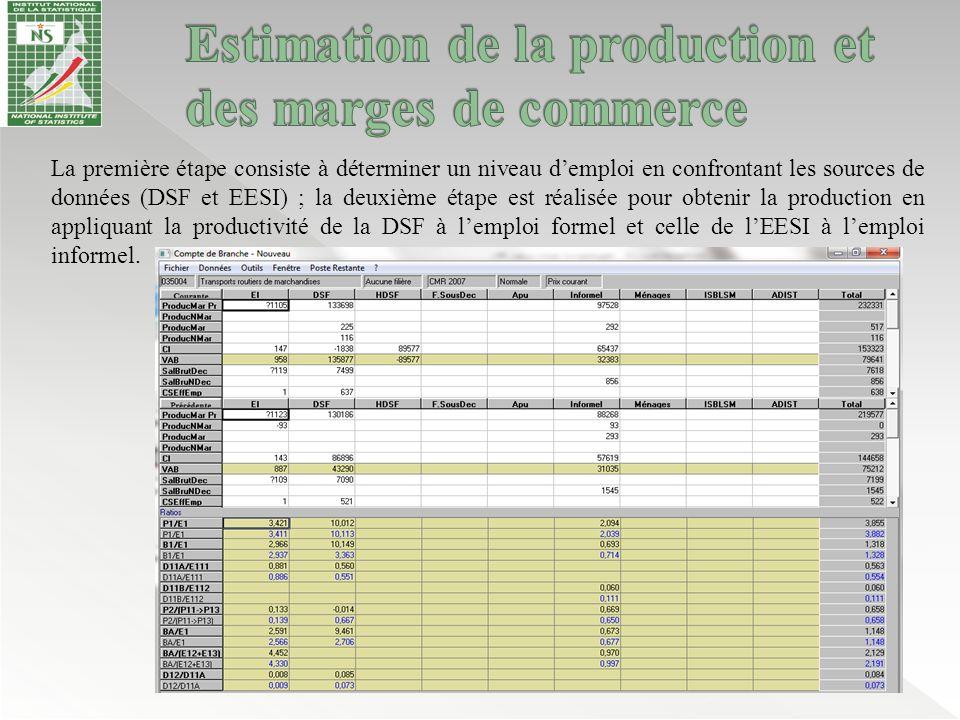 La première étape consiste à déterminer un niveau d'emploi en confrontant les sources de données (DSF et EESI) ; la deuxième étape est réalisée pour o