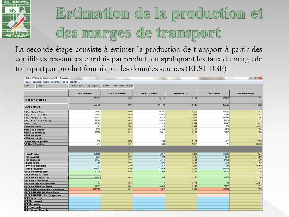 La seconde étape consiste à estimer la production de transport à partir des équilibres ressources emplois par produit, en appliquant les taux de marge