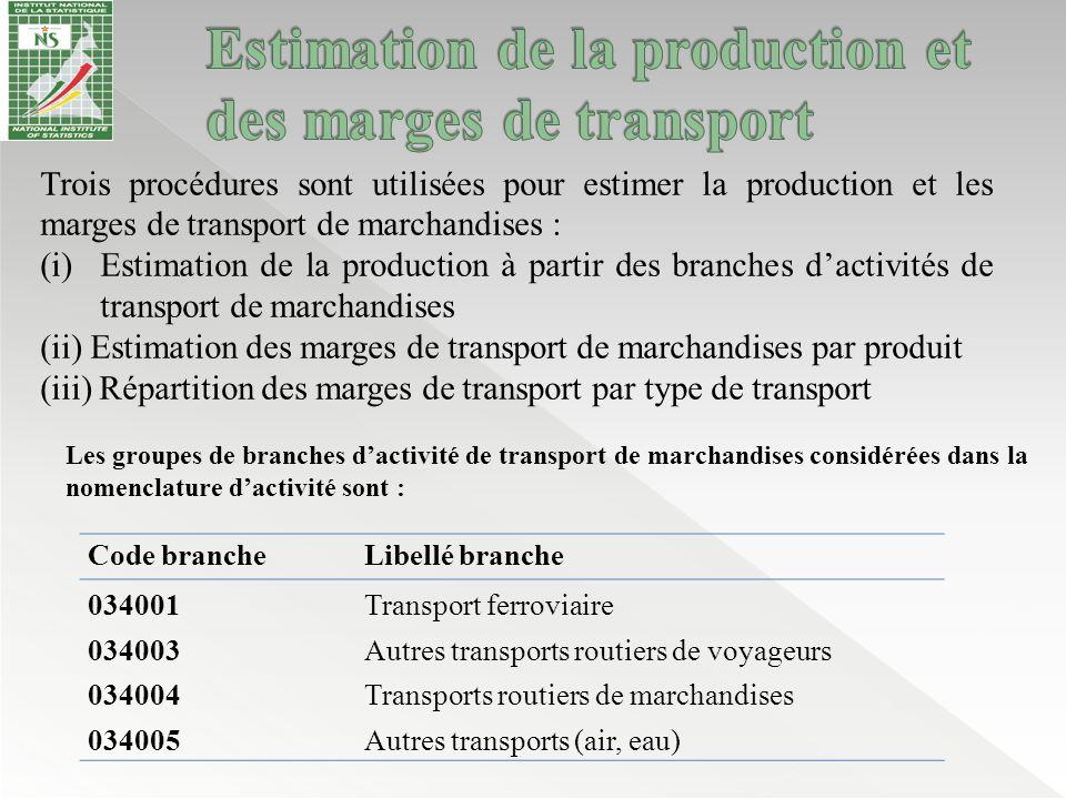 Trois procédures sont utilisées pour estimer la production et les marges de transport de marchandises : (i)Estimation de la production à partir des br
