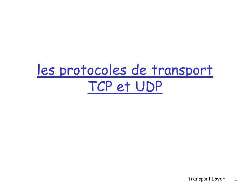 Transport Layer42 Datagrammes UDP (2) r Contrôle d'erreur m Optionnel en IPv4, obligatoire en IPv6 m Pseudo-header + en-tête + données m Pseudo-header: @ IP source @ IP destination protocole