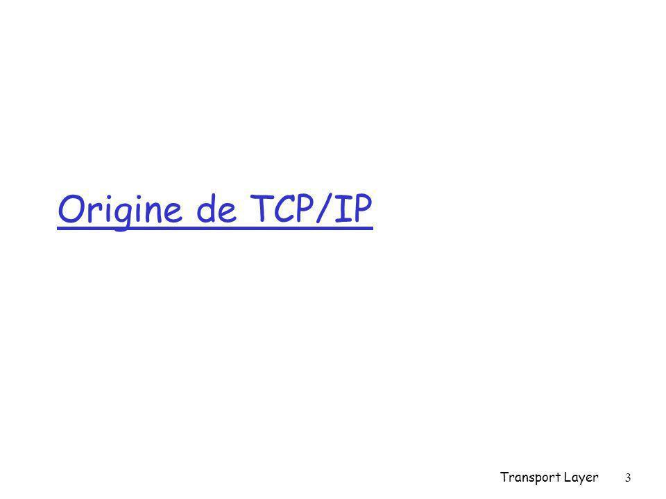 Transport Layer4 TCP-IP: origine r Commutation de paquets r Approche « informatique » vs « télécom » r Expérimentations de chercheurs r Approche intégrée : des applications aux outils techniques r Approche de complémentarité par rapport à l'existant r Déploiement rapide r Devient standard de fait r Internet r Le Web