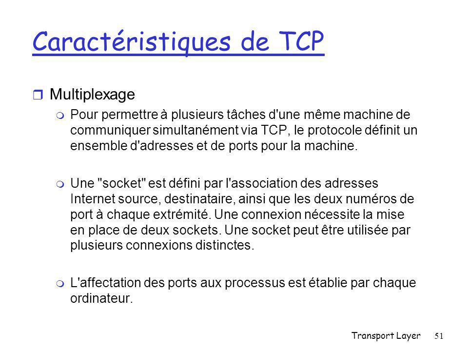 Transport Layer51 Caractéristiques de TCP r Multiplexage m Pour permettre à plusieurs tâches d une même machine de communiquer simultanément via TCP, le protocole définit un ensemble d adresses et de ports pour la machine.