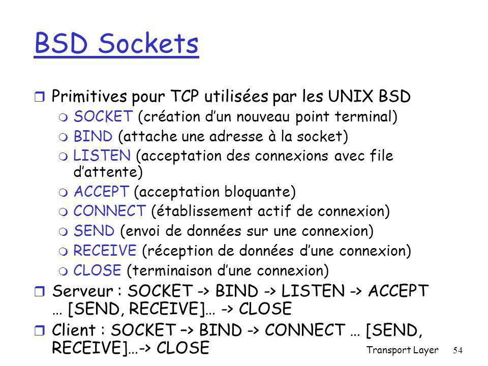 Transport Layer54 BSD Sockets r Primitives pour TCP utilisées par les UNIX BSD m SOCKET (création d'un nouveau point terminal) m BIND (attache une adresse à la socket) m LISTEN (acceptation des connexions avec file d'attente) m ACCEPT (acceptation bloquante) m CONNECT (établissement actif de connexion) m SEND (envoi de données sur une connexion) m RECEIVE (réception de données d'une connexion) m CLOSE (terminaison d'une connexion) r Serveur : SOCKET -> BIND -> LISTEN -> ACCEPT … [SEND, RECEIVE]… -> CLOSE r Client : SOCKET –> BIND -> CONNECT … [SEND, RECEIVE]…-> CLOSE