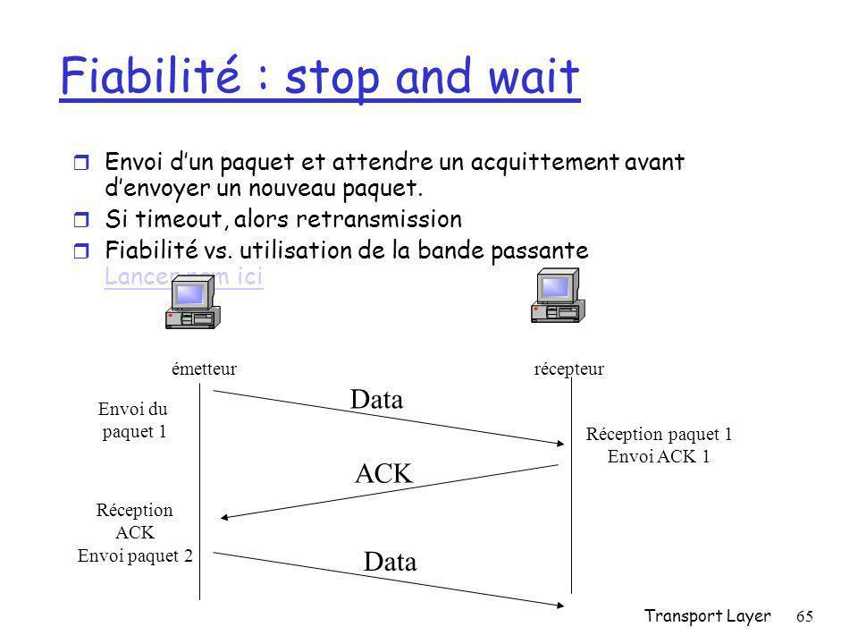 Transport Layer65 Fiabilité : stop and wait r Envoi d'un paquet et attendre un acquittement avant d'envoyer un nouveau paquet.