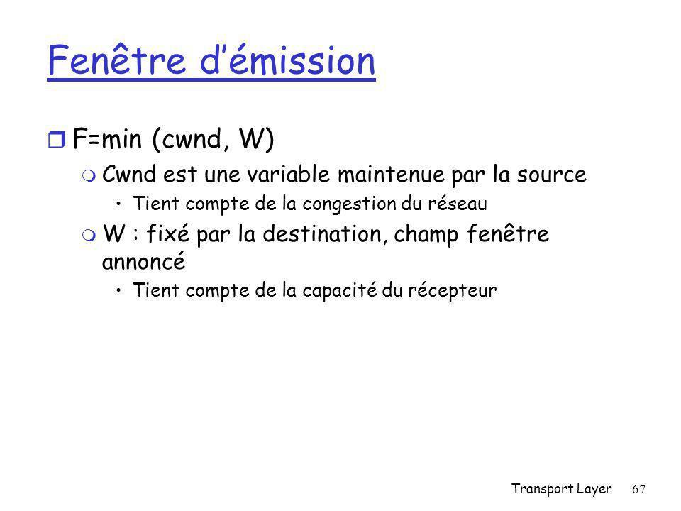 Transport Layer67 Fenêtre d'émission r F=min (cwnd, W) m Cwnd est une variable maintenue par la source Tient compte de la congestion du réseau m W : fixé par la destination, champ fenêtre annoncé Tient compte de la capacité du récepteur