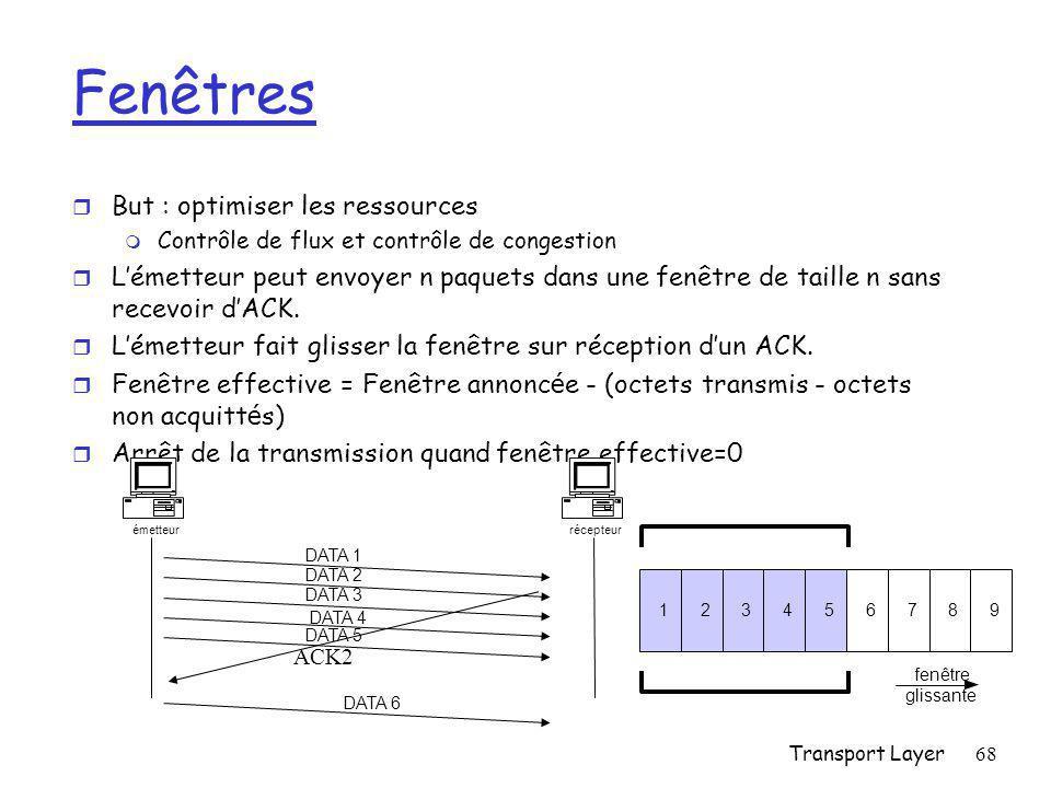 Transport Layer68 Fenêtres r But : optimiser les ressources m Contrôle de flux et contrôle de congestion r L'émetteur peut envoyer n paquets dans une fenêtre de taille n sans recevoir d'ACK.