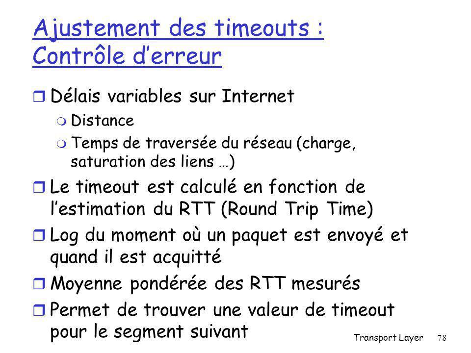 Transport Layer78 Ajustement des timeouts : Contrôle d'erreur r Délais variables sur Internet m Distance m Temps de traversée du réseau (charge, saturation des liens …) r Le timeout est calculé en fonction de l'estimation du RTT (Round Trip Time) r Log du moment où un paquet est envoyé et quand il est acquitté r Moyenne pondérée des RTT mesurés r Permet de trouver une valeur de timeout pour le segment suivant