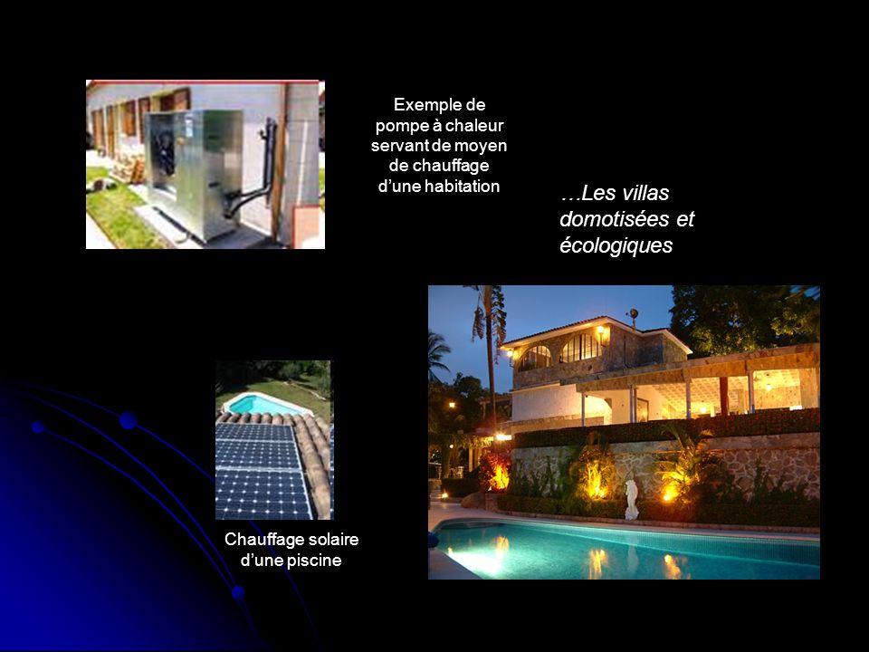 Chauffage solaire d'une piscine Exemple de pompe à chaleur servant de moyen de chauffage d'une habitation …Les villas domotisées et écologiques