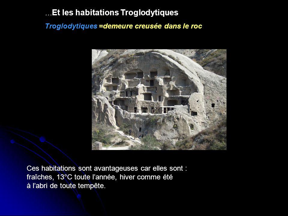 … Et les habitations Troglodytiques Troglodytiques =demeure creusée dans le roc Ces habitations sont avantageuses car elles sont : fraîches, 13°C tout