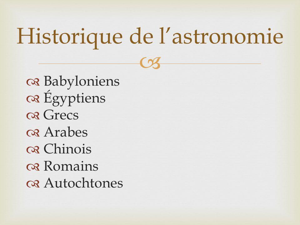   Babyloniens  Égyptiens  Grecs  Arabes  Chinois  Romains  Autochtones Historique de l'astronomie