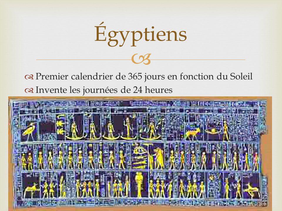   Premier calendrier de 365 jours en fonction du Soleil  Invente les journées de 24 heures Égyptiens