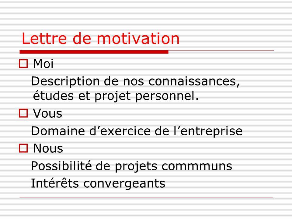 Lettre de motivation  Moi Description de nos connaissances, études et projet personnel.