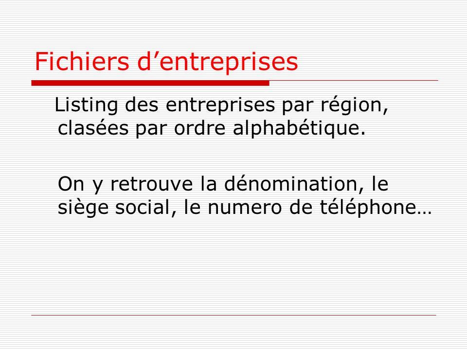 Fichiers d'entreprises Listing des entreprises par région, clasées par ordre alphabétique.