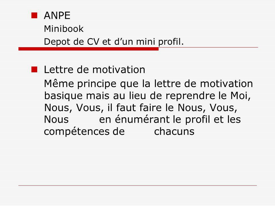 ANPE Minibook Depot de CV et d'un mini profil.