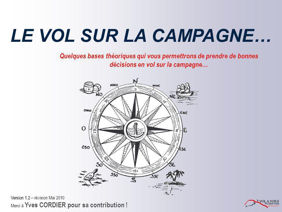 LE VOL SUR LA CAMPAGNE… Quelques bases théoriques qui vous permettrons de prendre de bonnes décisions en vol sur la campagne… Version 1.2 Version 1.2