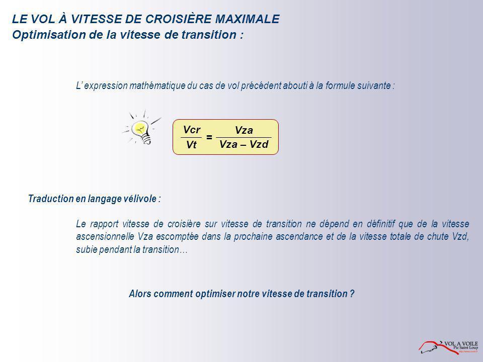 LE VOL À VITESSE DE CROISIÈRE MAXIMALE L' expression mathématique du cas de vol précédent abouti à la formule suivante : Traduction en langage vélivol