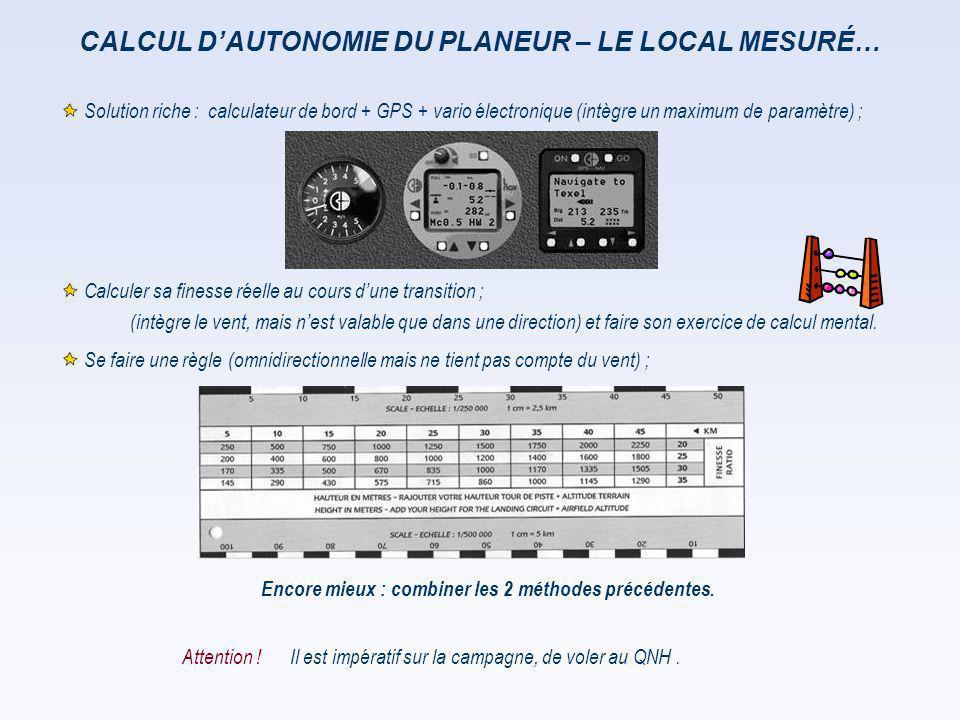 CALCUL D'AUTONOMIE DU PLANEUR – LE LOCAL MESURÉ… Il est impératif sur la campagne, de voler au QNH. Encore mieux : combiner les 2 méthodes précédentes