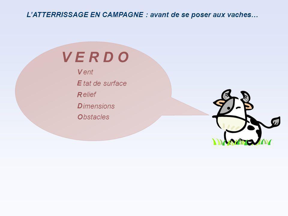 L'ATTERRISSAGE EN CAMPAGNE : avant de se poser aux vaches… V E R D O ent tat de surface elief imensions bstacles V E R D O