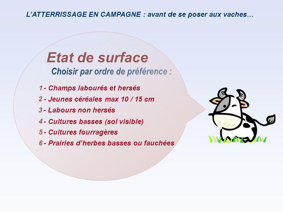 L'ATTERRISSAGE EN CAMPAGNE : avant de se poser aux vaches… Choisir par ordre de préférence : Etat de surface - Champs labourés et hersés - Jeunes céré