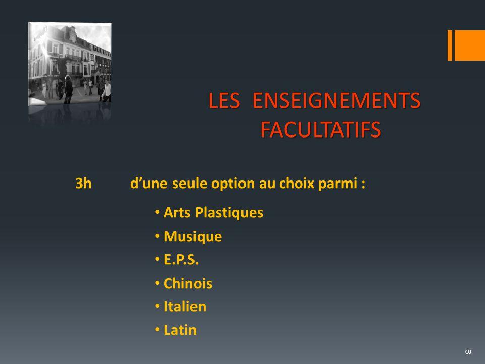 LES ENSEIGNEMENTS FACULTATIFS 3hd'une seule option au choix parmi : Arts Plastiques Musique E.P.S. Chinois Italien Latin OJ