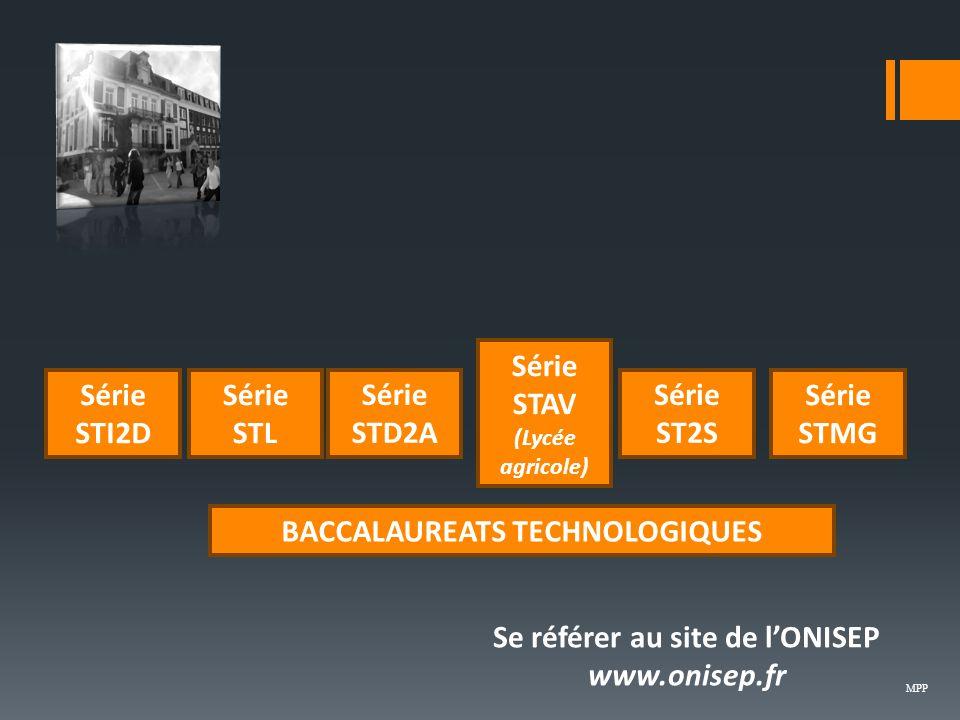 BACCALAUREATS TECHNOLOGIQUES Série STI2D Série ST2S Série STL Série STMG Série STAV (Lycée agricole) Se référer au site de l'ONISEP www.onisep.fr Série STD2A MPP