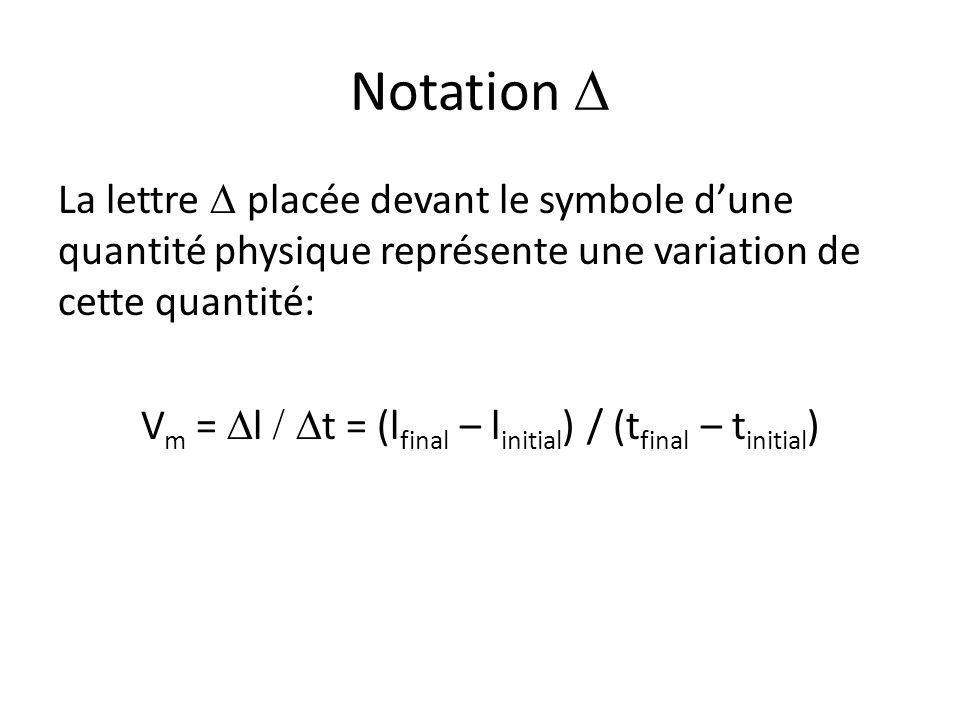 Notation  La lettre  placée devant le symbole d'une quantité physique représente une variation de cette quantité: V m =  l  t = (l final – l in
