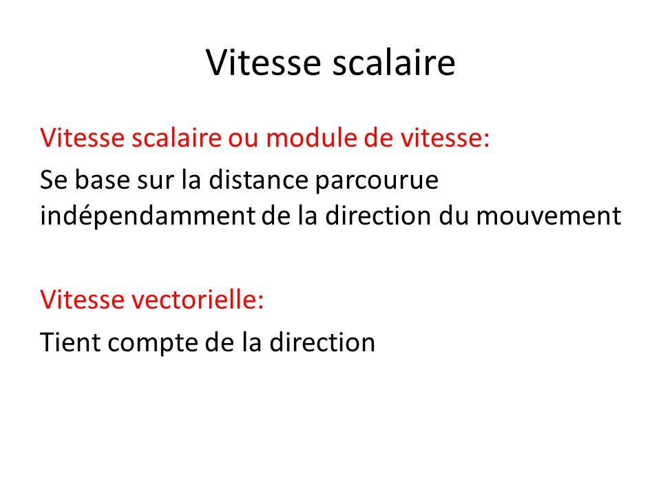 Vitesse scalaire Vitesse scalaire ou module de vitesse: Se base sur la distance parcourue indépendamment de la direction du mouvement Vitesse vectorie