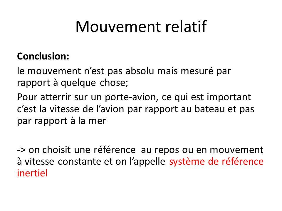 Mouvement relatif Conclusion: le mouvement n'est pas absolu mais mesuré par rapport à quelque chose; Pour atterrir sur un porte-avion, ce qui est impo