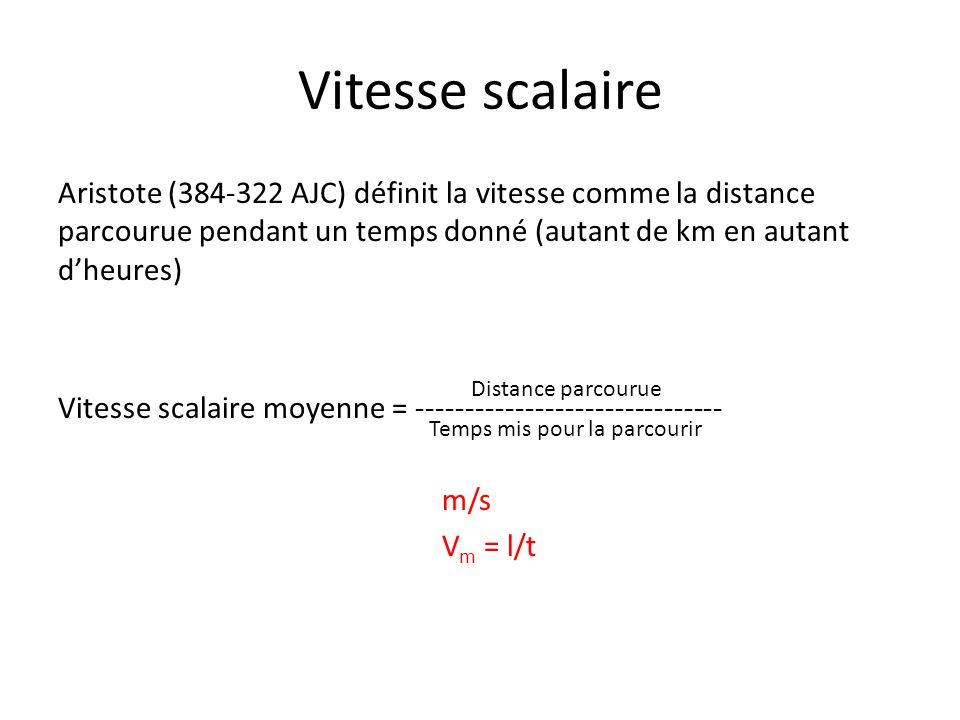 Vitesse scalaire Aristote (384-322 AJC) définit la vitesse comme la distance parcourue pendant un temps donné (autant de km en autant d'heures) Vitess