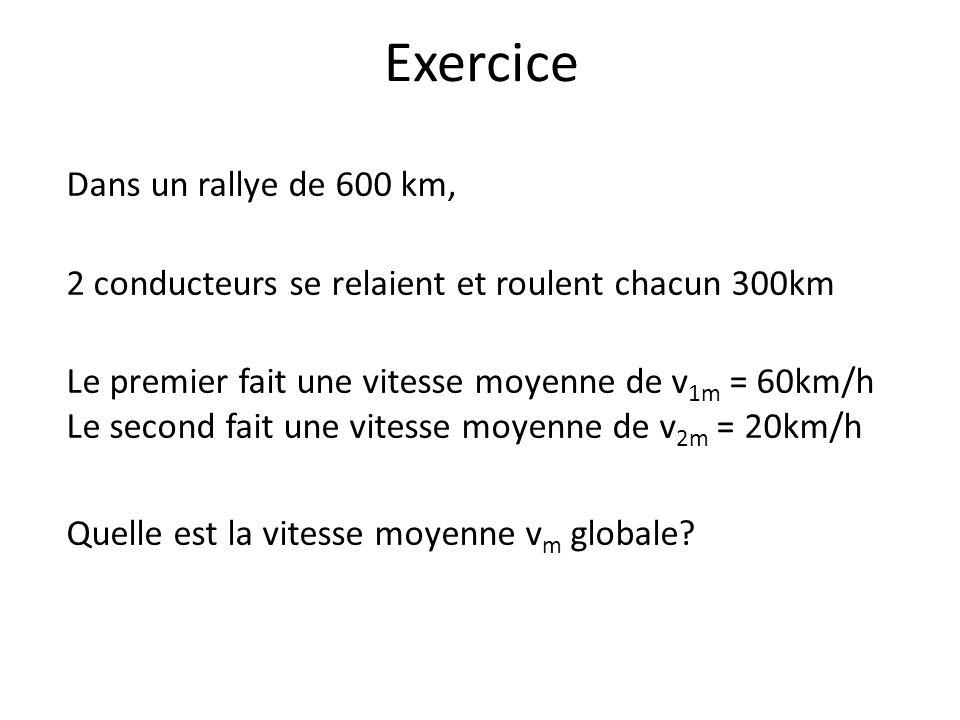 Exercice Dans un rallye de 600 km, 2 conducteurs se relaient et roulent chacun 300km Le premier fait une vitesse moyenne de v 1m = 60km/h Le second fa