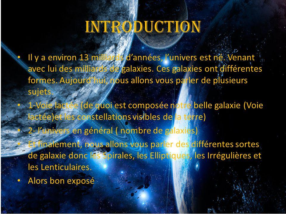 introduction Il y a environ 13 milliards d'années, l'univers est né. Venant avec lui des milliards de galaxies. Ces galaxies ont différentes formes. A