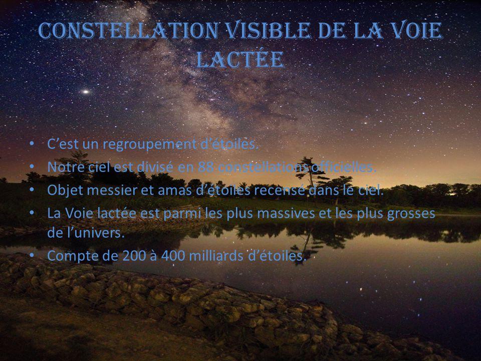 Constellation visible de la voie lactée C'est un regroupement d'étoiles. Notre ciel est divisé en 88 constellations officielles. Objet messier et amas