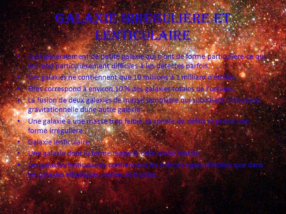 Galaxie irrégulière et lenticulaire sont généralement de petite galaxie qui n'ont de forme particulière ce qui les rend particulièrement difficiles à