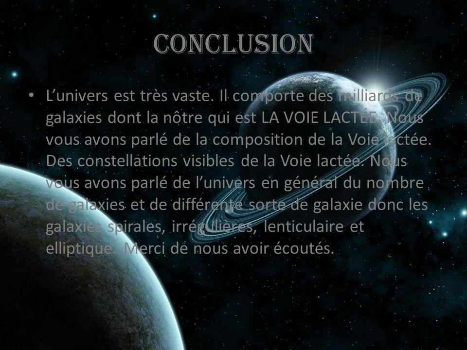 Conclusion L'univers est très vaste. Il comporte des milliards de galaxies dont la nôtre qui est LA VOIE LACTÉE. Nous vous avons parlé de la compositi