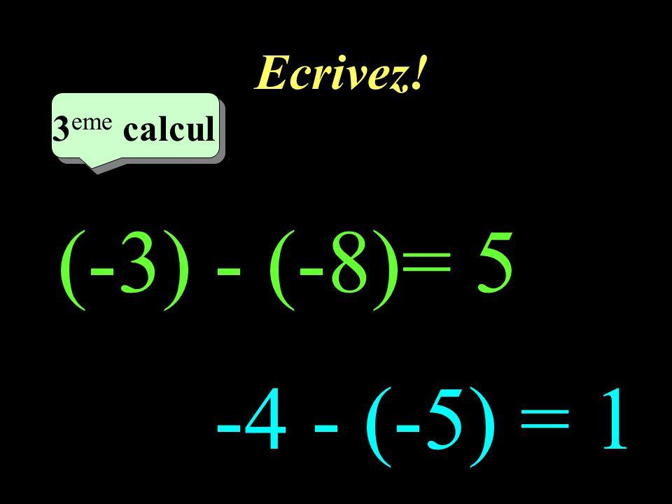 Ecrivez! –1–1 2 eme calcul 2 eme calcul 2 eme calcul -3 - (-5) = 2 -3 - (+7) = -10