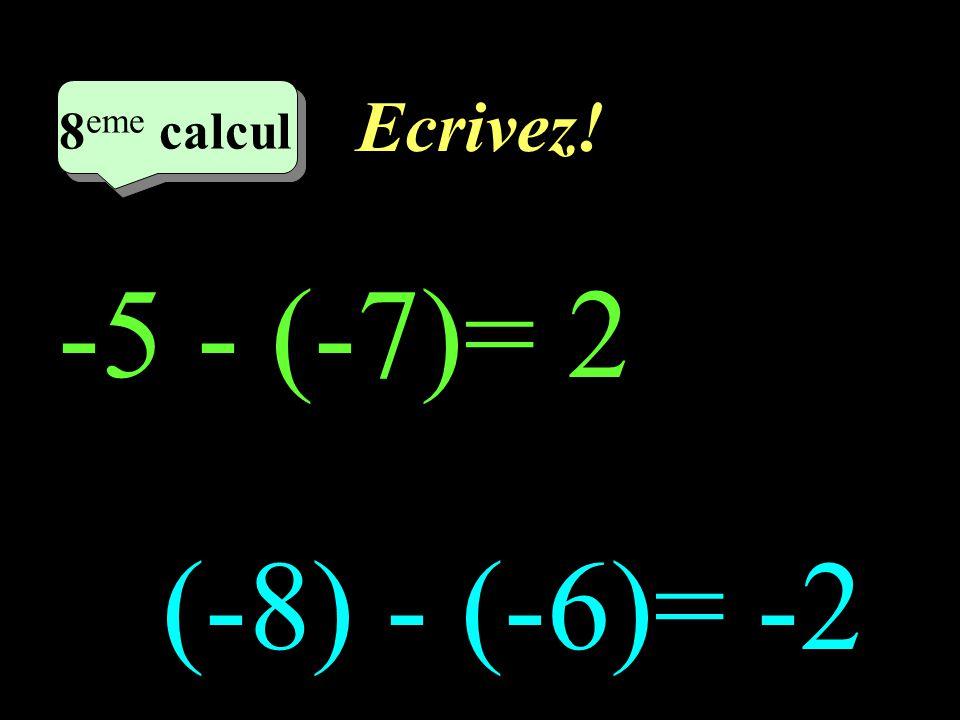Ecrivez! –1–1 7 eme calcul 7 eme calcul 7 eme calcul (-4) - 3= -7 -7 - (-7)=0