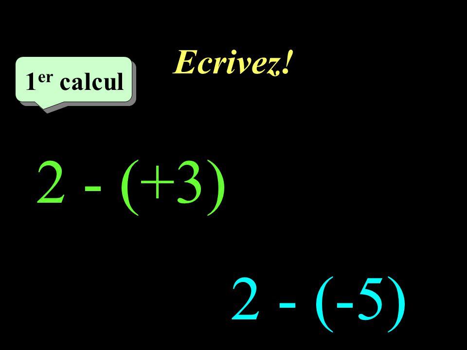 Ecrivez! –1–1 1 er calcul 1 er calcul 1 er calcul 2 - (+3) = -1 2 - (-5) = 7