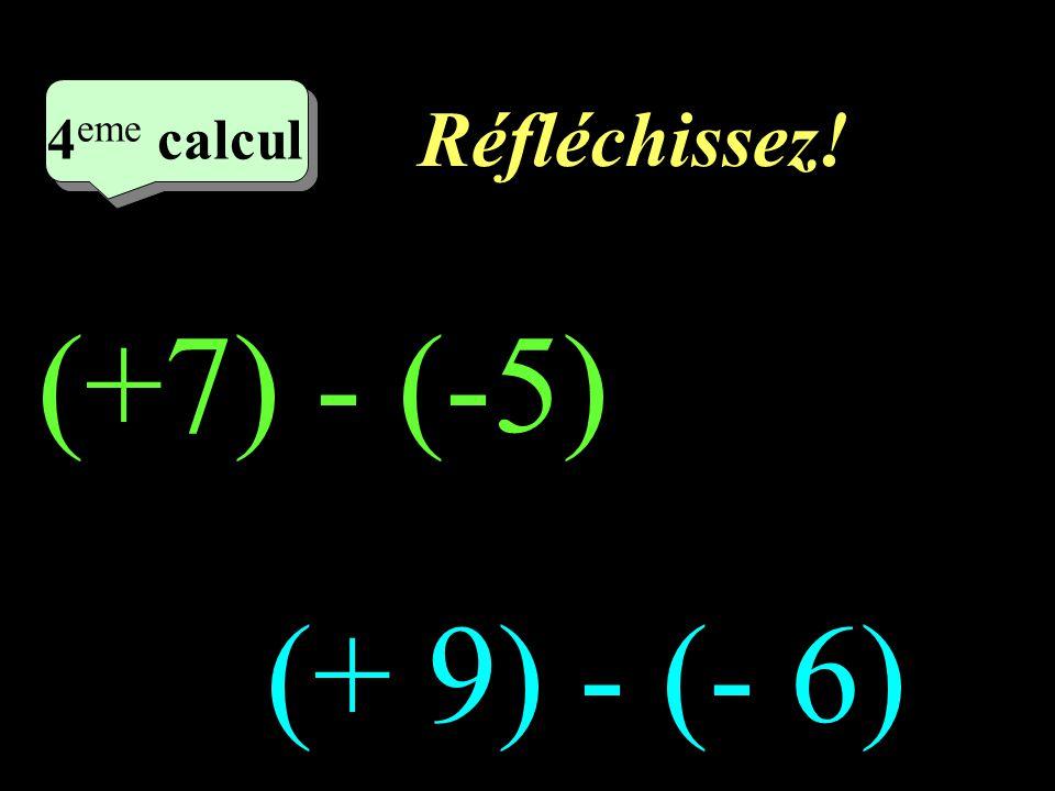 Réfléchissez! 4 eme calcul 4 eme calcul 4 eme calcul (+7) - (-5) (+ 9) - (- 6)