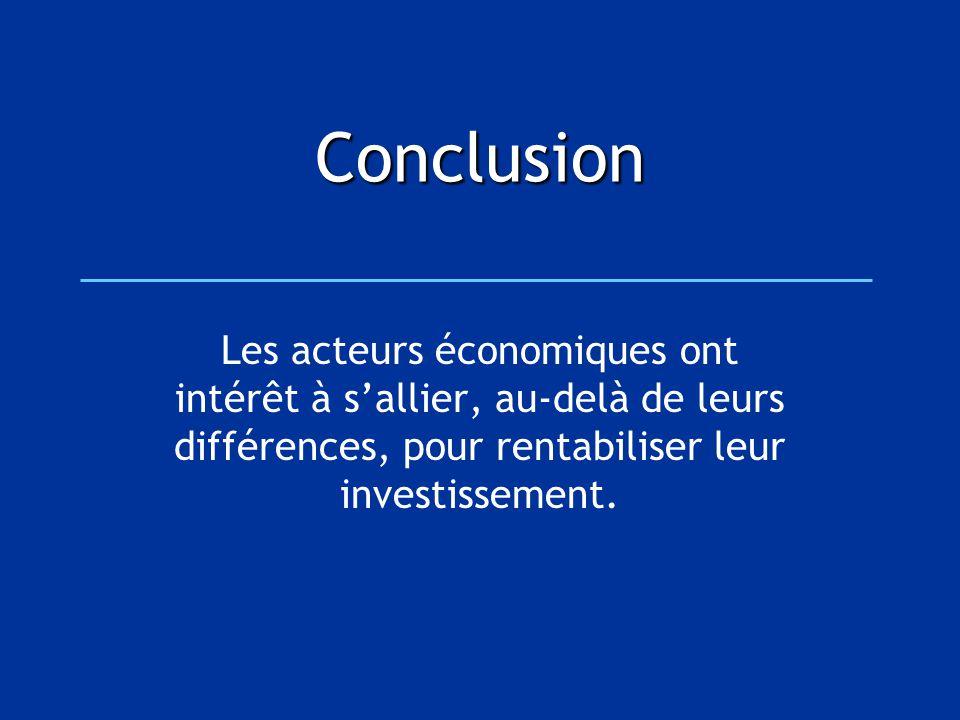Conclusion Les acteurs économiques ont intérêt à s'allier, au-delà de leurs différences, pour rentabiliser leur investissement.